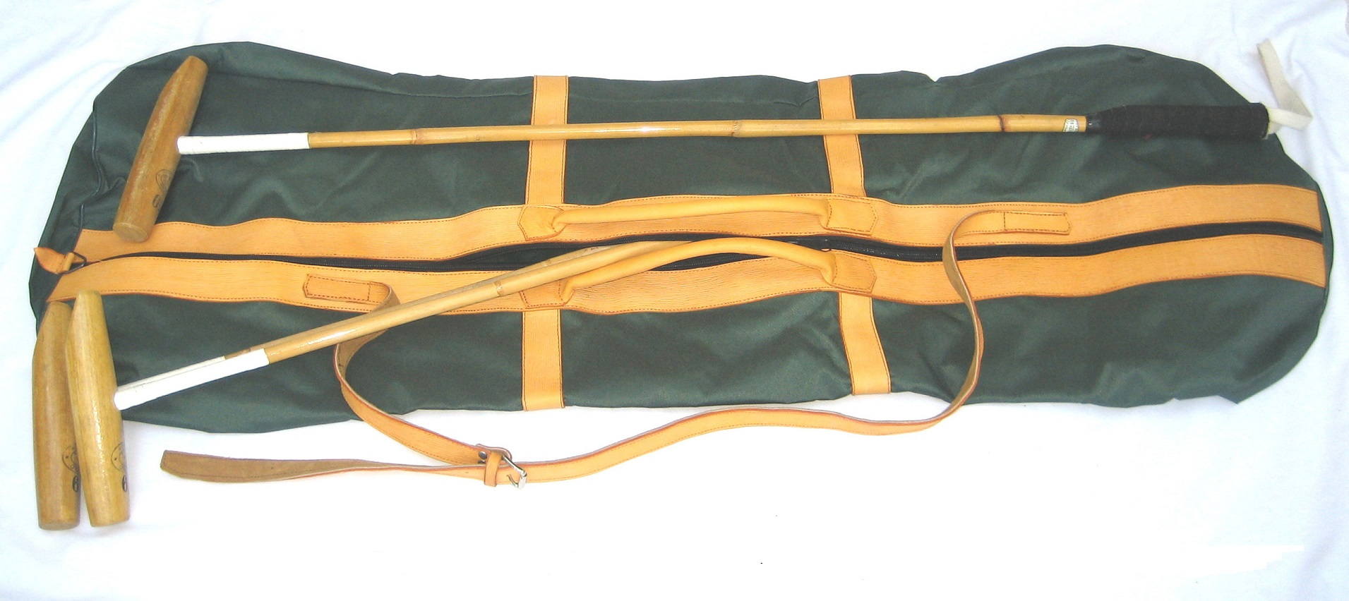 Stick bag with leather