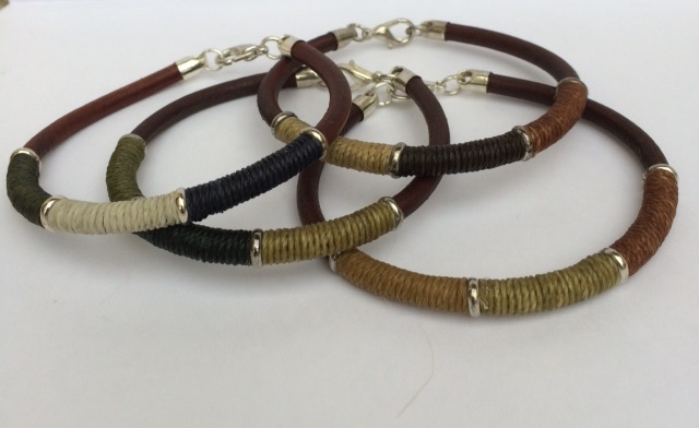 Leather Bracelets with Coloured Stitching