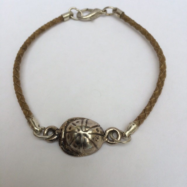 Rawhide Bracelet with Polo Helmet Charm
