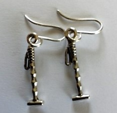 Silver Polo Stick Ear rings