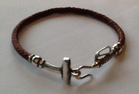 Rawhide & Silver Polo Stick Bracelet