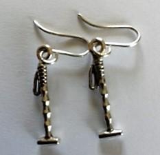 Silver Polo Stick Ear rings